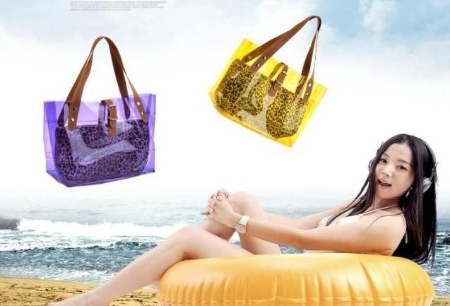 Free shipping 2013 fashion new transparent bag, crystal beach women bags, leopard grain shoulder hand female bag 105(China (Mainland))
