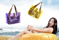 Free shipping 2013 fashion new transparent bag, crystal beach women bags, leopard grain shoulder hand female bag 105