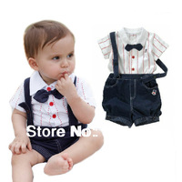 2pcs Baby Boy Top T-shirt+Overalls Pants Shorts Set Outfit Clothes Bow Tie baby suit outfits Made of cotton/ Sport set
