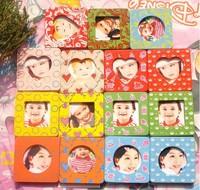 FREE SHIPPING Photo Frame Cute Mini Children Gift Fridge Magnets Wooden Craft eco Paint Baby Show 162pcs/lot say hi 30324