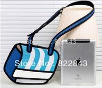 New 3d cartoons bag portable 3d three-dimensional Canvas messenger bag free shipping