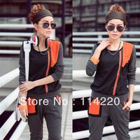 New Spring And Autumn Women Sport Clothing Set Casual Long Sleeve Patchwork Zipper T Shirt+Pants 2PCS Sweatshirt Suit