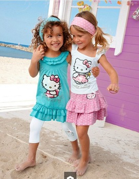 Retail 2013 High-quality  Brand Summer Hello Kitty Baby Girl Suits Kids Sets headband+Dress+Pants Children Clothing 3pcs Set