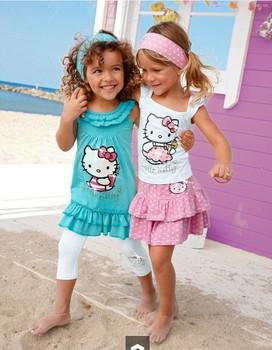 Retail 2015 High-quality  Brand Summer Hello Kitty Baby Girl Suits Kids Sets headband+Dress+Pants Children Clothing 3pcs Set