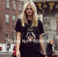 Fahion T shirts!2013 new Casual comfort tees With drilling dog head printing T-shirts women knitted t-shirt with tracking number