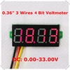 "4 Digit 0.36"" Digital Voltmeter 0-33V Three Lines Voltage Panel Meter Display Color: Red  [ 10 pieces / lot](China (Mainland))"