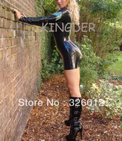 Hot sale! latex sexy police uniform with long sleeves,short sexy flat skirt latex clothes rubber dress for women
