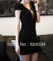 New 2013 Autumn -Summer Fashion Mini Clubwear Dress Women Slim Was Thin Long Sleeve One Piece Dress Big Size S M L XL XXL XXXL