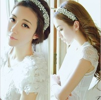 Super sparkling crystal mesh ribbon bridal hairband accessories for woman hair