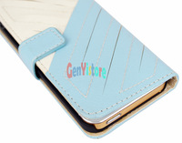 Blue Wallet PU Leather Card Holder Magnetic Flip Cover Case for iPhone 5 5G Free Shipping