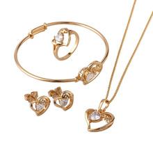 18K Gold Plated Children Heart Jewelry Sets,Kids Jewellery, Free shipping(S18K-50)(China (Mainland))