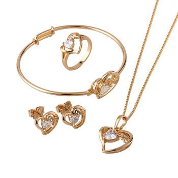 18K Gold Plated Children Heart Jewelry Sets, Kids Jewellery, (S18K-50)