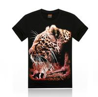 Free Shipping fashion tops summer 3D leopard print men T-shirts,o-neck t shirts men's t shirt cotton men's T shirts,KT05