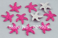 100 Glitter Magenta Starfish Crystal Flatback Wedding Scrapbooking Embellishment