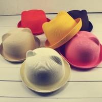 Free shipping! Summer lady cat head hat straw hat