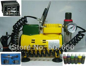 Temporary Tattoo Spray Machine Kit (1pc HD-470 Airbrush,1pc Compressor,50pc Tattoo template)/Set - Free shipping
