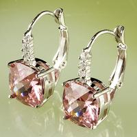 Elegant Pink Topaz Dangle Hook 925 Silver Earring Free Shipping