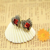 12pairs/lot Wholesale Angel Heart Gem Stud Earrings Wings Women Ear Rings Accessories Bijouterie Jewelry Famale Satement Bling
