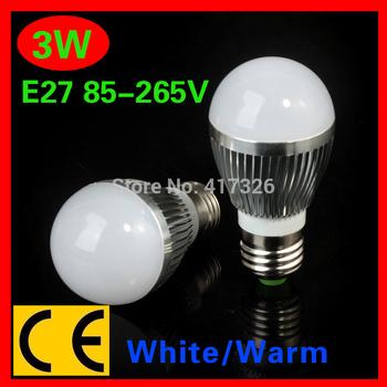 Best price 5pcs/lot E27 3W 110V/220V White/Warm White dimmable LED Light Bulb Lamp