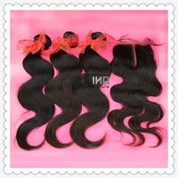 "Peruvian Virgin Hair Free shipping body wave 1 Piece Lace Top Closure with 4Pcs Hair Bundle,5pcs/lot,12""-28"" can mix size"