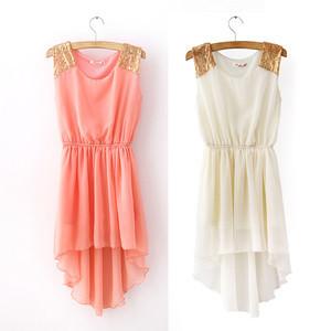 Hot Sale Elegant Women's 6 Colors Chiffon Casual Paillette Shoulder Slim Mini Vest Dress WF-035(China (Mainland))