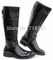 HOT Male High Boots Trend Brief Elegant European Version Handsome  Brown Denim Boots Riding Boots boot Man Best Gift