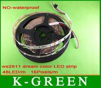 4 Roll WS2812 flexible DMX RGB LED strip light IP65 DMX Digital LED non-waterproof strip 48 LEDs/m