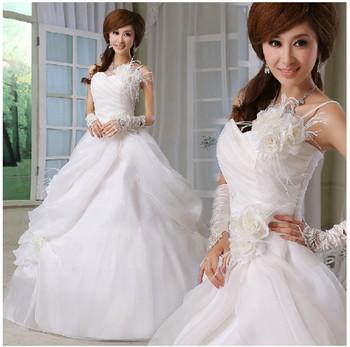Бесплатная доставка Любовь перо одно плечо цветок невесты свадебное Сладкая принцесса свадебное платье Размер: SML XL PD0026