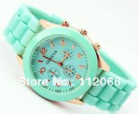 Free Shipping Hot Sellig New Fashion Silicone wristwatches Ladies Silicone watch in 12 color quartz watch for Lovers
