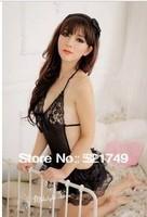 sexy  erotic lingerie hot  tops sleepwear transparent  racerback set    black babydoll lace skirt free shipping