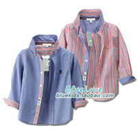 Free shipping children shirt boys cotton long-sleeved shirt striped blouse