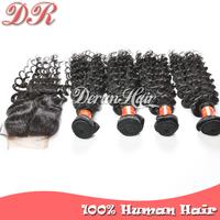 Brazilian Virgin Hair Extension,1pcLace Closure And 4pcHair Bundles Deep Wave Unprocessed Virgin Brazilian Hair Human Hair Weave