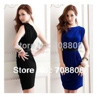 2014 New fashion Elegant women Club Dresses with waist belt, one-Shoulder Party Evening dresses for lady party dress vestidos