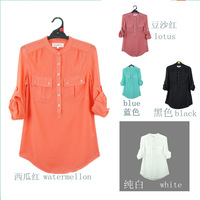 Free shipping 2013 fashion ladies long sleeve chiffon blouse office women chiffon shirt ladies blouse fashion women's top