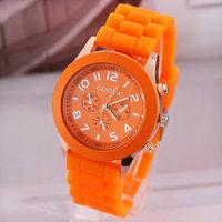 10pcs/lot Geneva Analog Casual Watch Candy Color Wristwatch Unisex Quartz Watch Silicone Strap Hot Sale Promotion