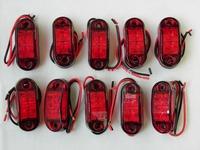 Free shipping 10 Pcs Red Emark/DOT/SAE waterproof Multivolts10-30v led Trailer side marker/clearance light for truck RV Boat
