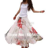 Free Shipping 2014 New Fashion Summer Elegant Boho  Big Hem Chiffon Flower Long Skirts  DR1749