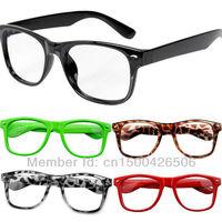 Free Shipping! 2015 Fashion Women New Goggles Wayfarer 80s Style Multi-coloured Plain Eyeglasses Glasses Spectacles 120-0300