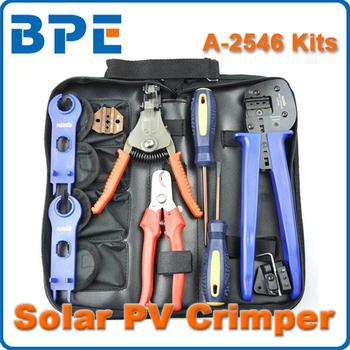 FreeShipping, MC4 MC3 Solar Crimping Tools /Solar PV Tool Kits, Crimper&Stripper&Cutter&Spanne
