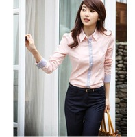 women cotton shirts Korean cultivating a small stand-up collar shirt(blue pink white black) free shipping