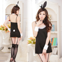 Free ShippingWomen Cat Costume Cosplay Uniform Catsuits(Dress+Rabbit ears+bow+2Pcs wristwear)