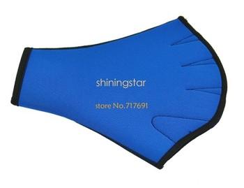 Blue Fingerless Surfing Swimming Webbed Gloves Swim Aid Paddle Glove Medium size S12371