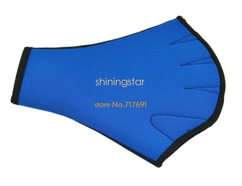 Blue Fingerless Surfing Swimming Webbed Gloves Swim Aid Paddle Glove Medium size Sv18 12371
