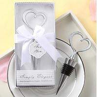 Simply elegant Heart Love Chrome Bottle Stopper 100PCS/LOT wedding bridal shower favor guest gift Free shipping