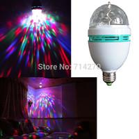 Free shipping 3W E27 Full Color LED Crystal  Rotating laser LED Stage Light DJ Lamp Light big Bulb Lighting
