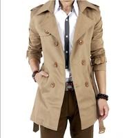 2014 Freeshipping MENS CASUAL DOUBLE BREASTED TRENCH COAT SLIM FIT M-XXXL (BLACK,KHAKI) winter fashion jacket,popular jacket