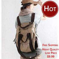 Girls backpack 2012 large multi-purpose canvas bag backpack for middle school students school bag women's handbag