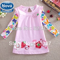 FREE SHIPPING F2275# 2014 new hot fashion nova kids brand baby boys children clothing cotton spring long t shirt for baby girls