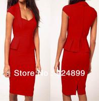 Pink, Red,White,Black,Trendy  Women's New Fashion formal office pencil party work Sheath Midi Dress Size S,M,L,XL
