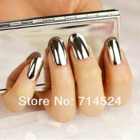FREE SHIPPING,240pcs/lot, 2013 NEW Fashion Nail Art 3D Decoration, Minx Gold and Silver Shiny Full Cover Nail Tips